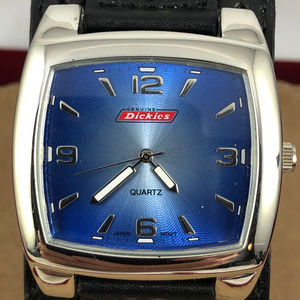 Vintage Dickies Black Cuff Silver Blue Watch NWOT